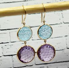 Natural Amethyst Blue Topaz Dangling 18k Yellow Gold Earring Double Drop Carved