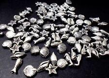 450pcs Acrylic Shell Sea Horse Starfish Fish Beads TIBETAN ANTIQUE SILVER M05