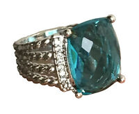 Designer Inspired 16x12mm Wheaton 925 Silver Ring with Blue Topaz and Diamonds