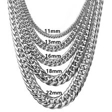 9/11/13/16/18/22mm Width Curb Necklace Stainless Steel Chain Men Boy Jewelry