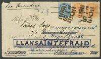 India Británica. Sobre Yv 19, 22(2). 1883. 1/2 anna azul y 2 anna naranja, dos