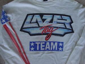 Vtg 80s Lazer Tag USA 1986 Team gun game long sleeve t shirt M