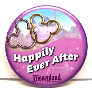 Disneyland Buttons x 2 Happily Ever After! Just Married! Happy Anniversary NEW