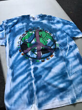 Vintage 90s Earth T-Shirt Tie-Dye World Peace Blue XL