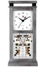 New Bulova Mantel Clock Bluetooth Weathered Oak Veneer Frank Lloyd Wright B4835