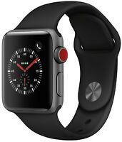 Apple Watch Series 3 38mm Space Gray Case Black Sport Band GPS + Cellular