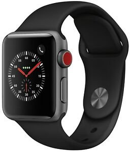 Apple Watch Series 3 38mm Space Gray Case Black Sport Band GPS + Cellular - Fair