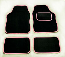 TOYOTA YARIS ANY MODEL UNIVERSAL Car Floor Mats Black Carpet & PINK Trim