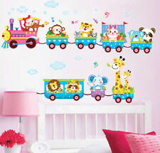 Animal Train Wall Decal Stickers Vinyl Art Kids Baby Nursery Room Cartoon Decor