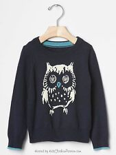 Baby GAP Girls Intarsia Owl Navy Blue Sweater Pullover 12 18 months NWT$35 TWINS