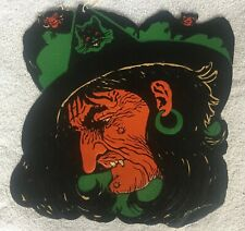 Vintage Beistle Large Halloween Witch Embossed Die-Cut Decoration 1930's