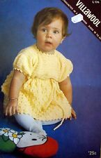 """Villawool Crochet Pattern Pamphlet No.L174 - BABY DRESS - 3 ply 16"""" to 20"""" Chest"""