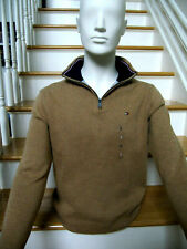 Tommy Hilfiger Mens Sweater SMALL Tan w/ Blue Collar Long Sleeves Logo 1/4 Zip