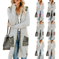 Women Pocket Cardigan Shawl Tops Long Sleeve Knit Sweater Jacket Coat Outwear