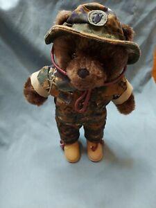 """1989 Bear Force Of America USMC Marine Uniform Camouflage Plush 10"""""""