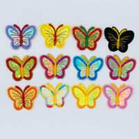 DIY 12PCS 53X40mm Butterfly Embroidered Iron-On sew on Patches Clothes Appliques