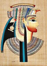 "Egyptian Hand-painted Papyrus Artwork: Bust of Queen Nefertari 24"" x 34"" SIGNED"
