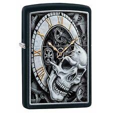 Zippo Skull Clock Black Windproof Cigarette Lighter Smokers Accessory