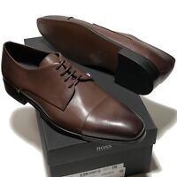 SPECIAL! HUGO BOSS Dark Brown Leather COLOSONS Captoe Men's Oxford Dress Casual