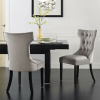 Set of 2 Elegant Tufted Design Fabric Upholstered Modern Dining Chairs Armless