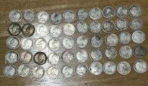 Lot Of 50 Canada King George V Silver Pre-1940 Canadian Dimes $5 Face Roll