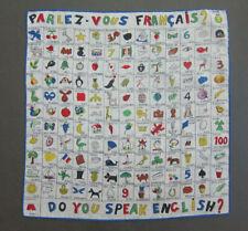 VTG Novelty Hankie Do You Speak French Parles Vous Francais Hand Rolled Hem EC