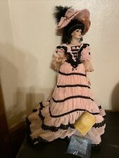 Franklin Heirloom Coca Cola Bisque Doll Pink Black Dress Hat 19 1/2� W Stand