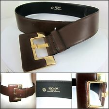"Escada Vintage Brown Leather ""E"" Wide Belt Size Small West Germany Exc Classic"