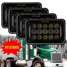 DOT 4x6 Halo LED Headlights For H4651 H4652 H4656 Kenworth Peterbilt 357 379 378