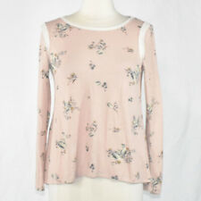 Soft Pink Floral & Ivory Lace Lightweight Sweater Top SMALL Women's