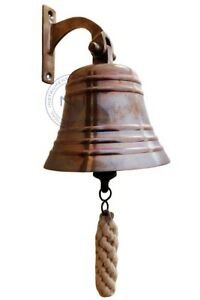"""Antique Brass 5"""" Ship Bell Nautical Hanging Door Bell With Wall Mounted Bracket"""