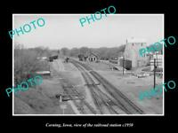 OLD LARGE HISTORIC PHOTO OF CORNING IOWA THE RAILROAD DEPOT STATION c1950