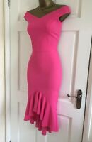 Ex Brand Women's Fuchsia Neon Hot Pink Bardot Party Frill Hem Dress Size 8 - 16