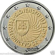Pièce 2 euros commemorative Slovaquie 2016 - Présidence du conseil de l'UE - UNC