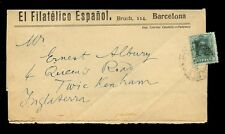 STAMP DEALER WRAPPER SPAIN c1920 FILATELICO ESPANOL BARCELONA