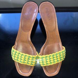 PRADA Vero Cuoio Leather Slide Sandals, 8 1/2 (39)
