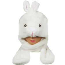 Silver Fever® Plush Soft Animal Hat Built-in Earmuffs Scarf Gloves White Bunny