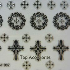 3D Antique Silver Sacred Cross Design Nail Art Decals Stickers#07030S-J Free P&P