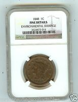 1848 NGC graded Fine - Details  Braided Hair Large Cent