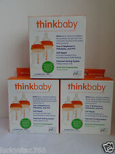 3 Thinkbaby 2 Pack BPA Free Vented Baby 4oz Bottles Natural/Orange