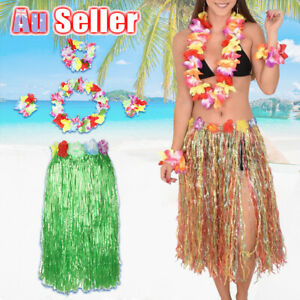 5Pcs 60cm Hula Grass Skirt Hawaiian Dress Up Lei Beach Party Dance Headband AU