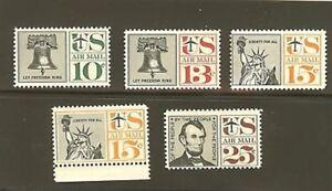 US Scott # C57 / C63 1959 - 1961 Airmails Set of 5 MNH