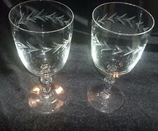 Fostoria HOLLY Wine Goblet Wedding or Anniversary Toasting Glasses Pair as is