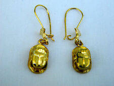 "Egyptian Scarab ""Good Luck"" 18K Yellow Gold Earrings 1.5"" Long #12 by order"