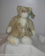 Boyds Bear Cat Creme White w Belly Pouch Hiding Place  Retired 2007