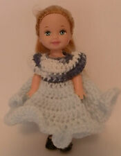 """Ooak Handmade Crochet Kelly Clothes for 4.5"""" Kelly Doll Blue/Variegated Dress"""
