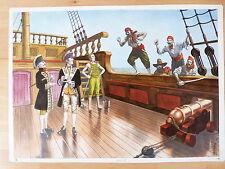 Dibujo Original de Enrique Ventura,Asalto Pirata