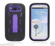 Samsung Galaxy S3 III Hybrid Armor Case Skin Cover w/ Kickstand Black Purple
