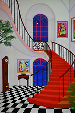 FANCH LEDAN INTERIOR WITH RED STAIRCASE SERIGRAPH SIGNED #382/450 W/COA 23X34