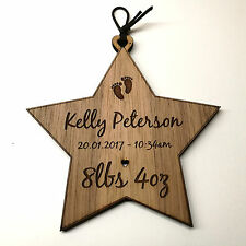 New Born Baby Christening Gift Birth Record Personalised Wooden Star Plaque